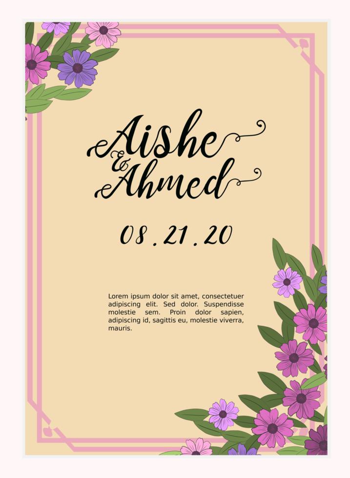 diseño de plantilla de invitación de boda floral vector