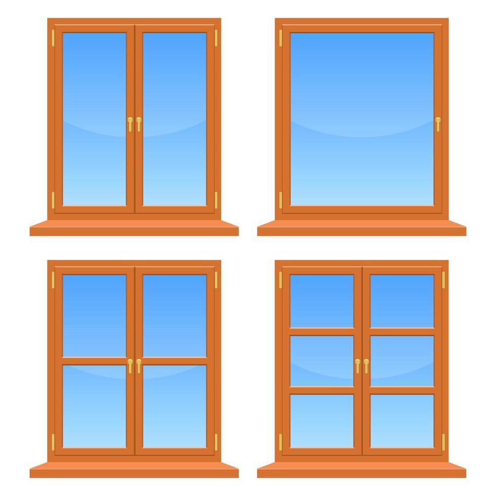 houten ramen ingesteld op wit vector
