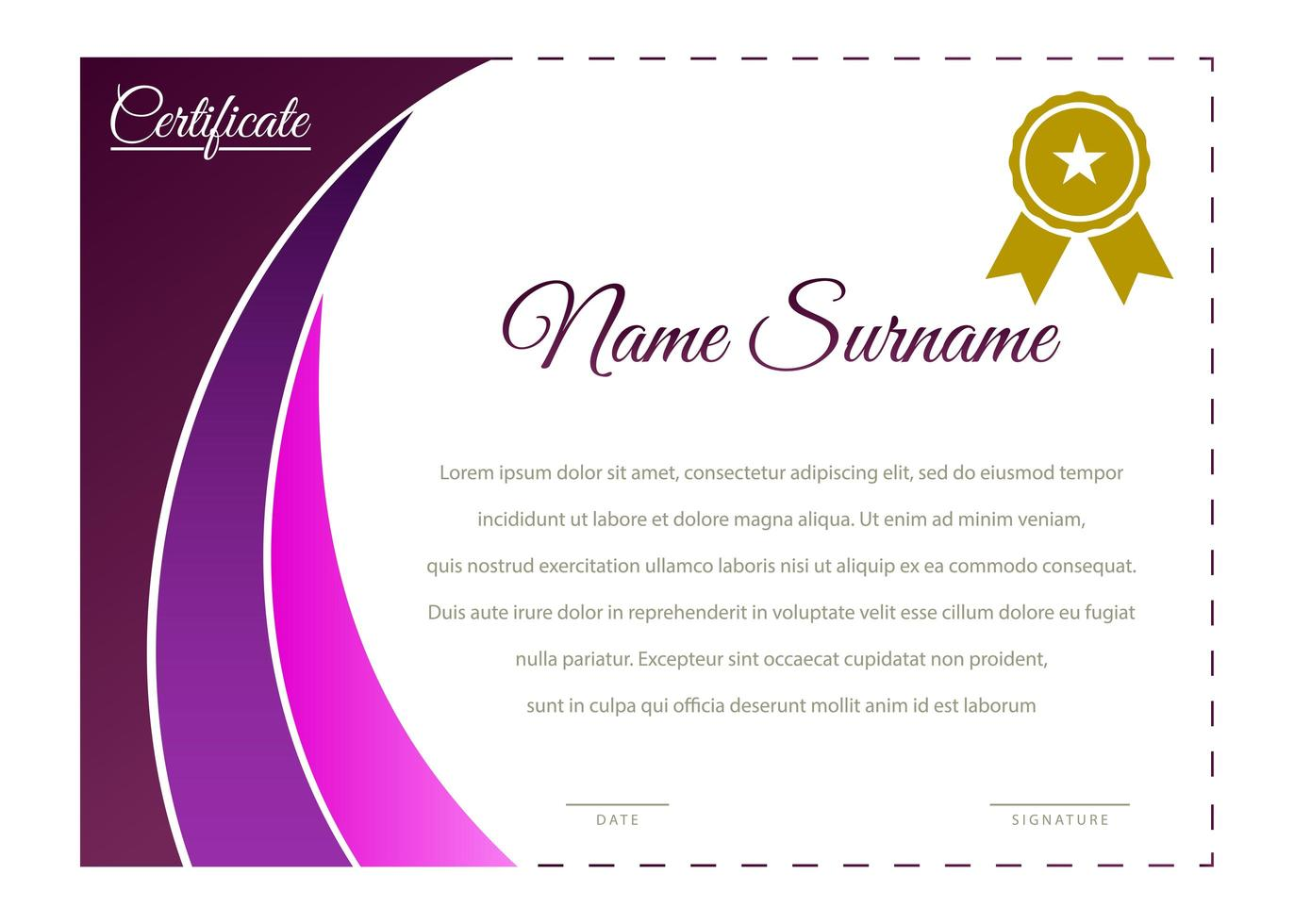 modelo de certificado horizontal de canto curvo gradiente rosa roxo vetor