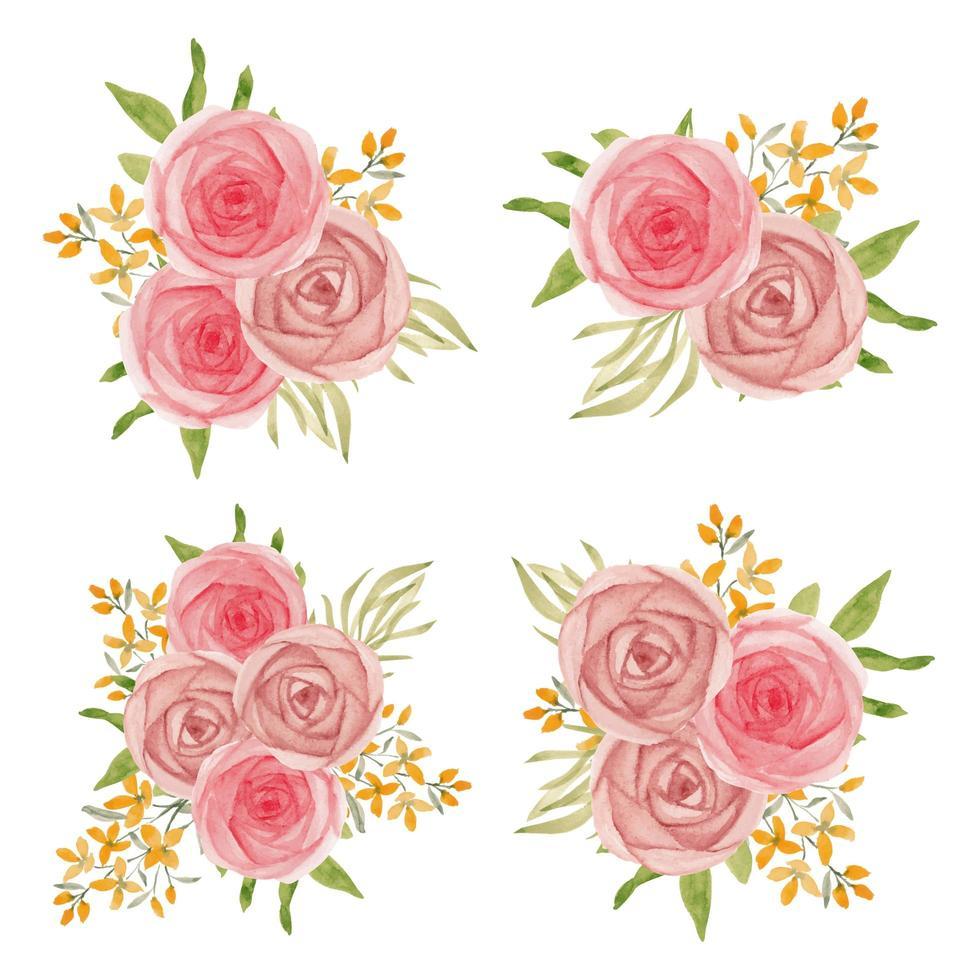 aquarel roos bloemenboeket collectie vector