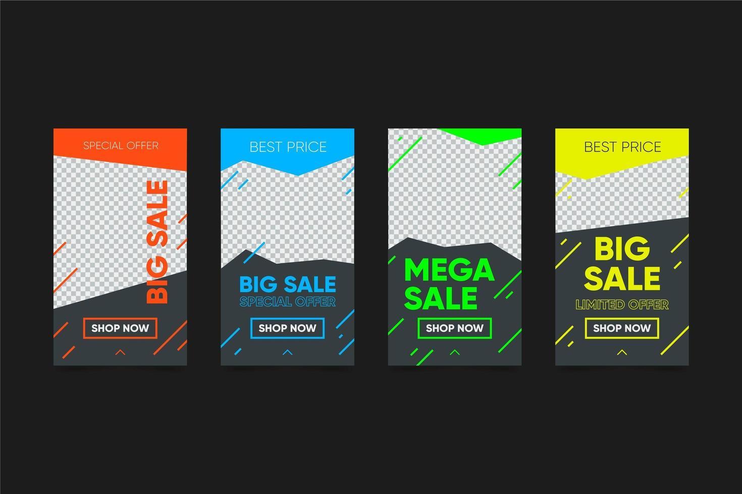 colorido paquete de historias de ventas vector
