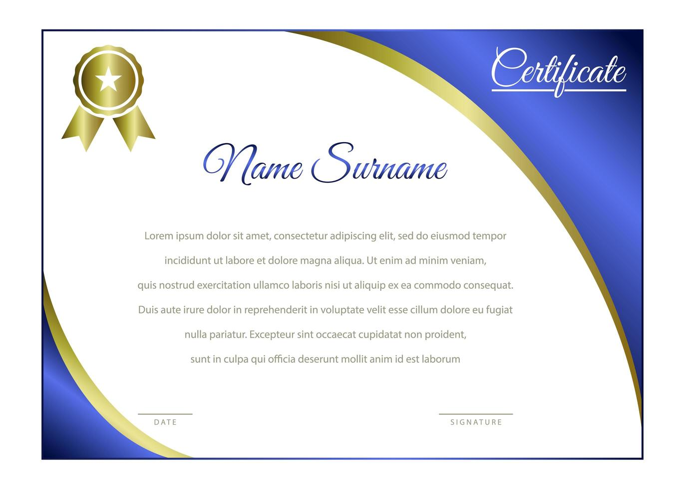 modelo de certificado horizontal azul e dourado elegante vetor
