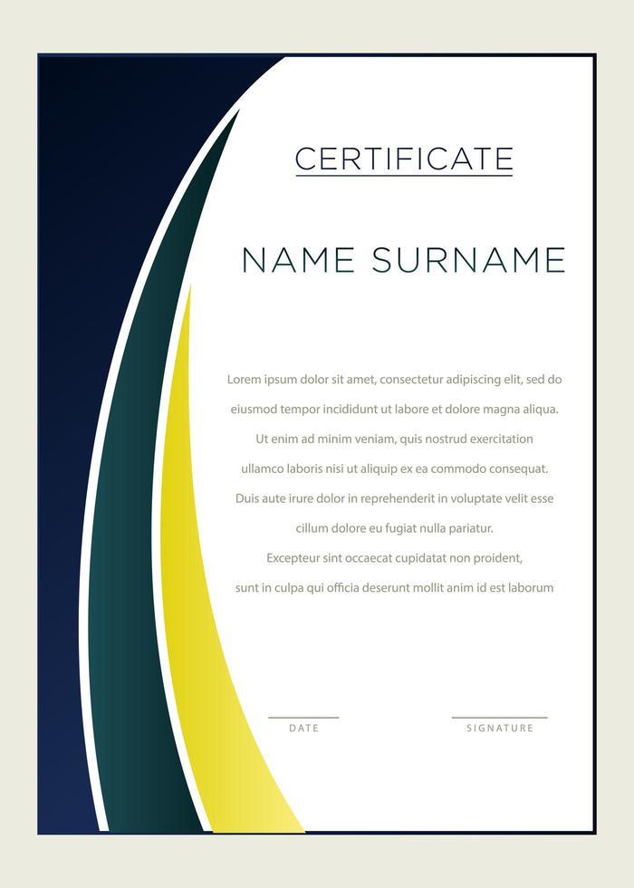 elegante blauwe en groene verticale certificaatsjabloon vector