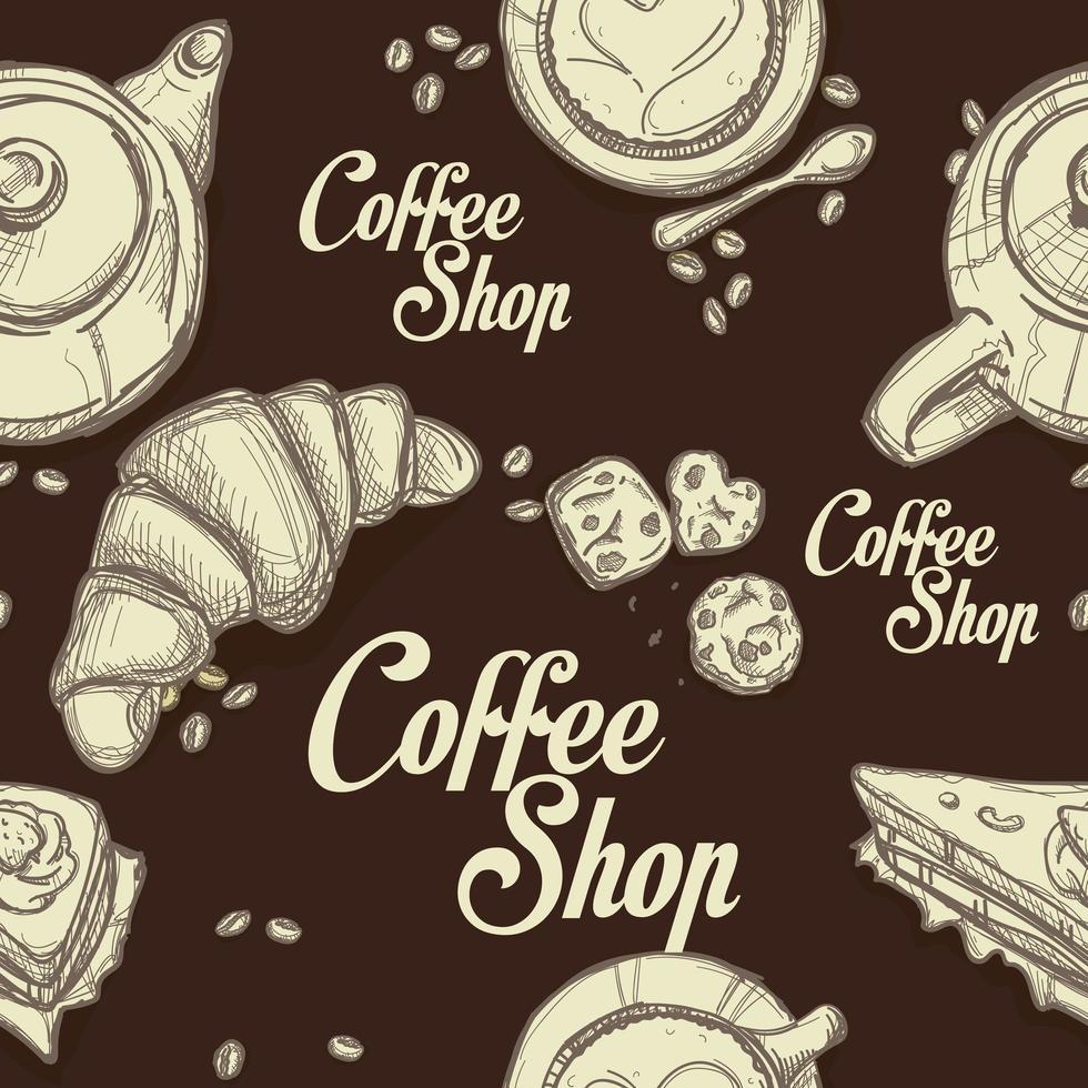 café com xícaras de café vetor