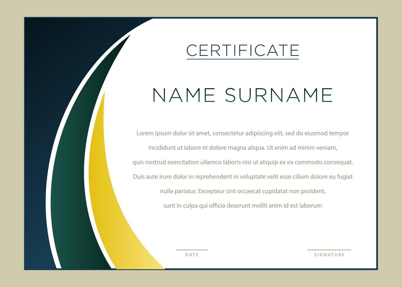 certificat de coin courbe dégradé horizontal vert et jaune vecteur
