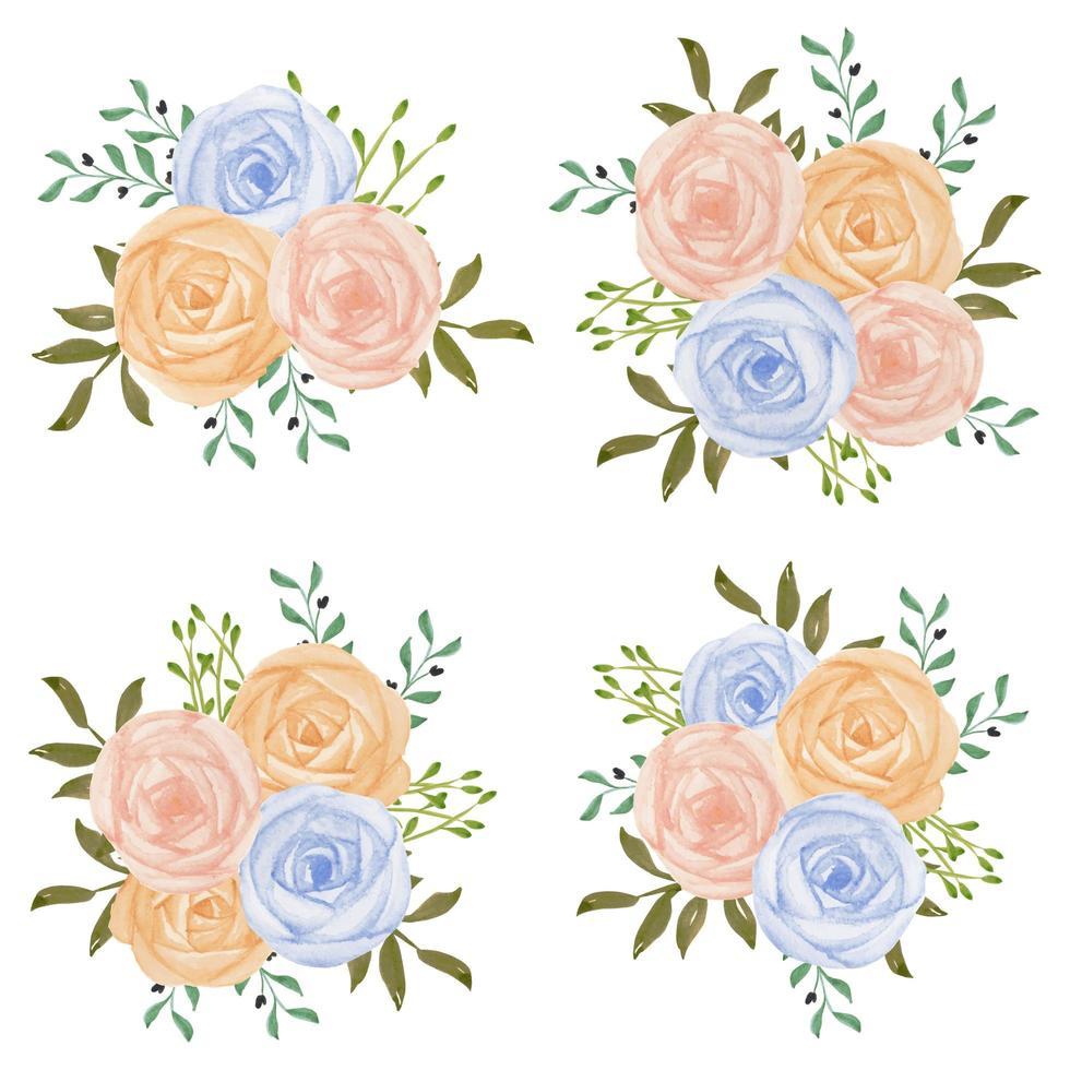aquarel pastel roze blauw roze bloemboeket set vector