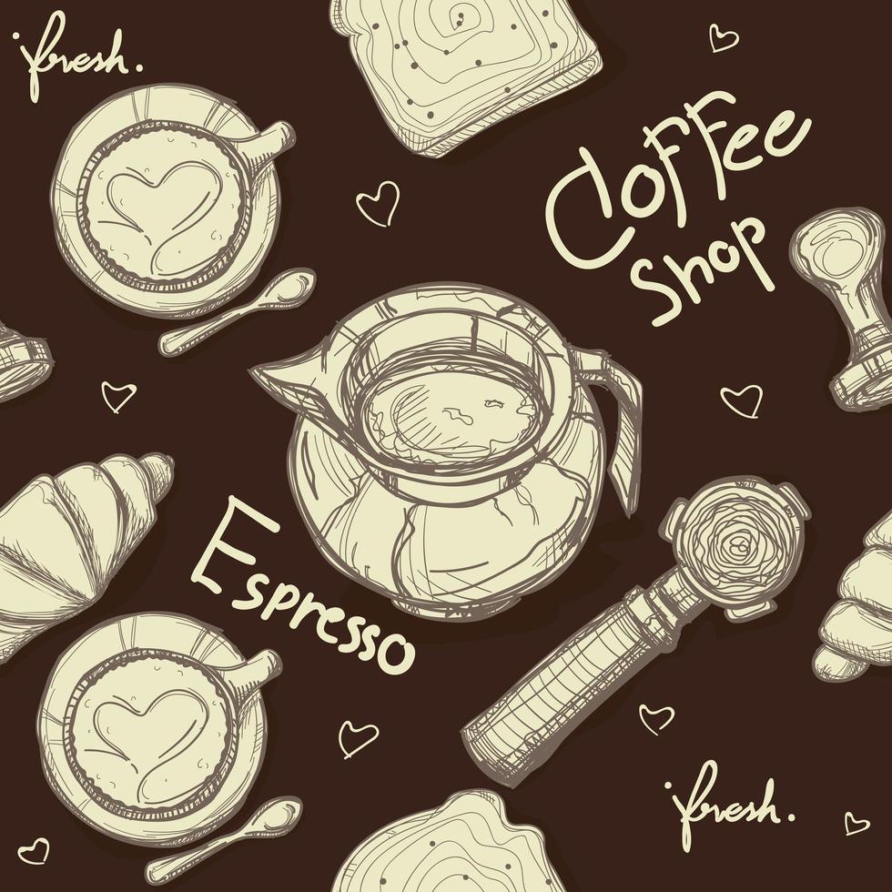 motif café marron vecteur