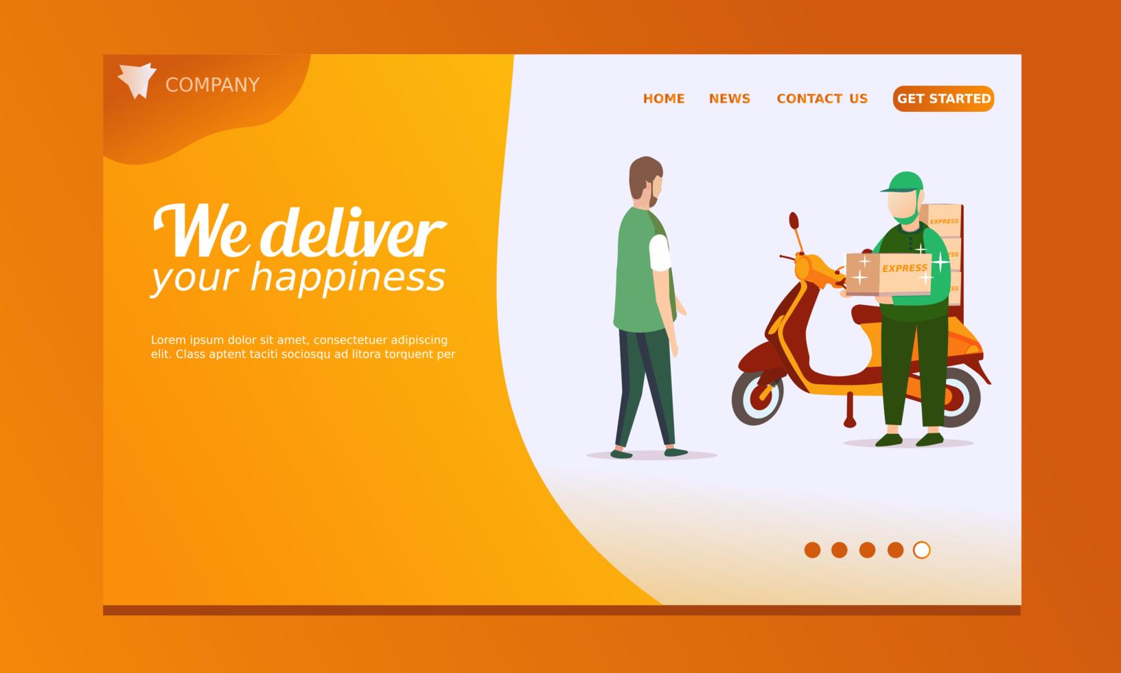 page de destination de livraison avec livraison moto scooter vecteur