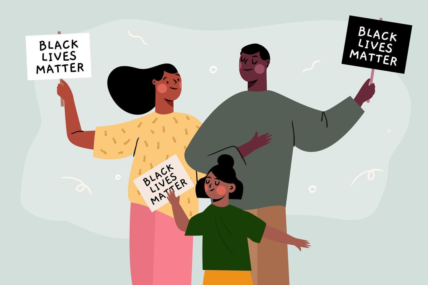 vidas negras importan familia vector