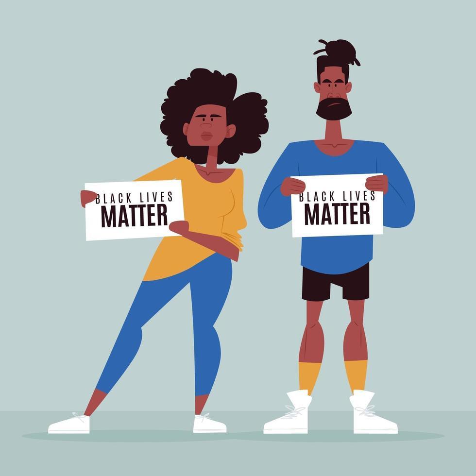 homem e menina vidas negras importam vetor