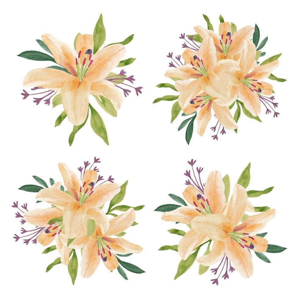 conjunto de arreglo floral hermoso lirio acuarela vintage vector