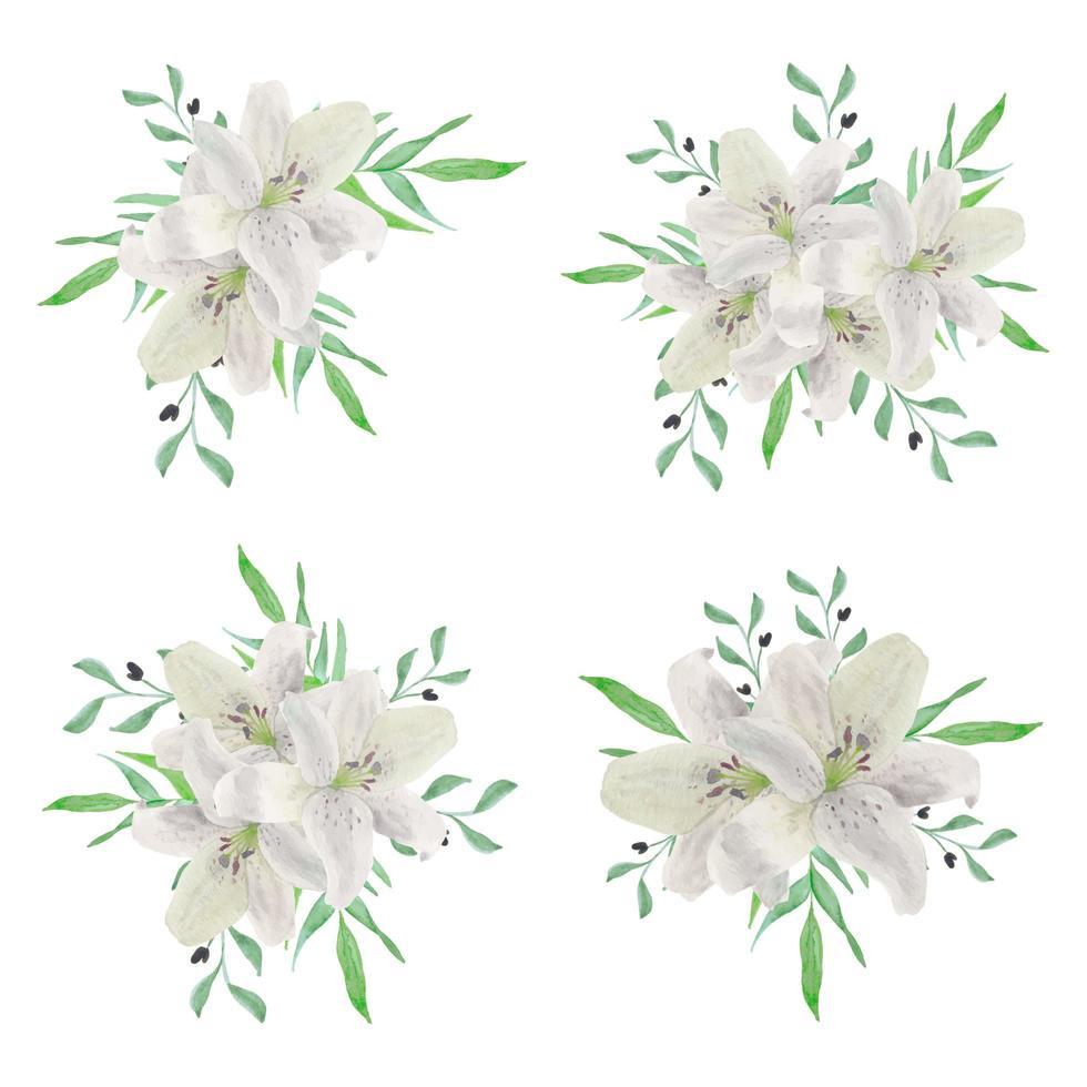 coleção de buquê de flores em aquarela de lírio branco vetor