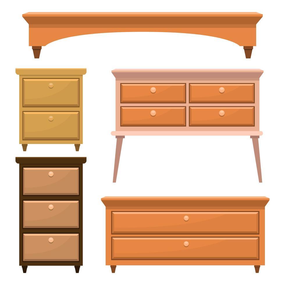 muebles de dormitorio de madera retro vector