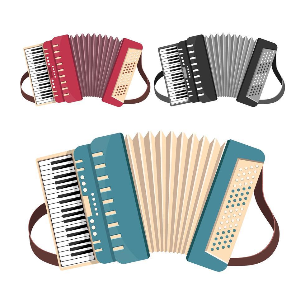 accordeon set geïsoleerd op een witte achtergrond vector