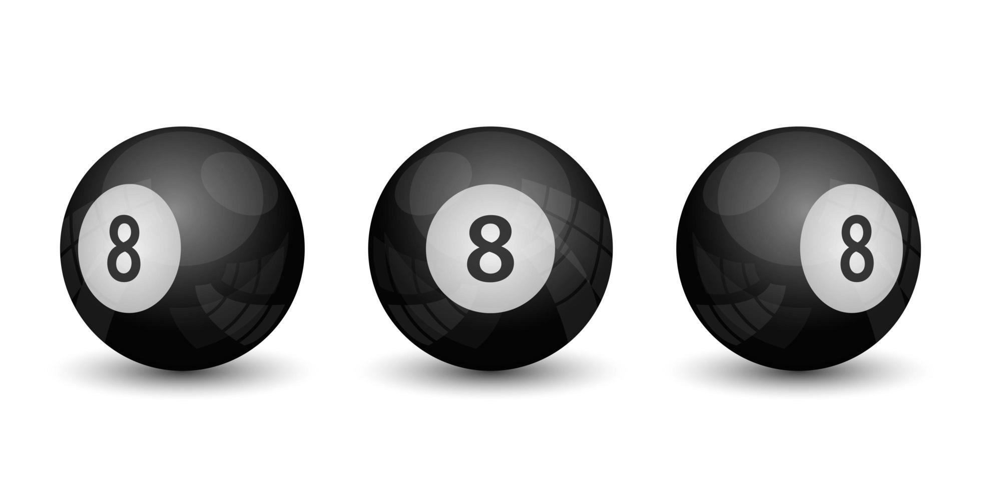 jogo de bilhar bola oito isolado no fundo branco vetor