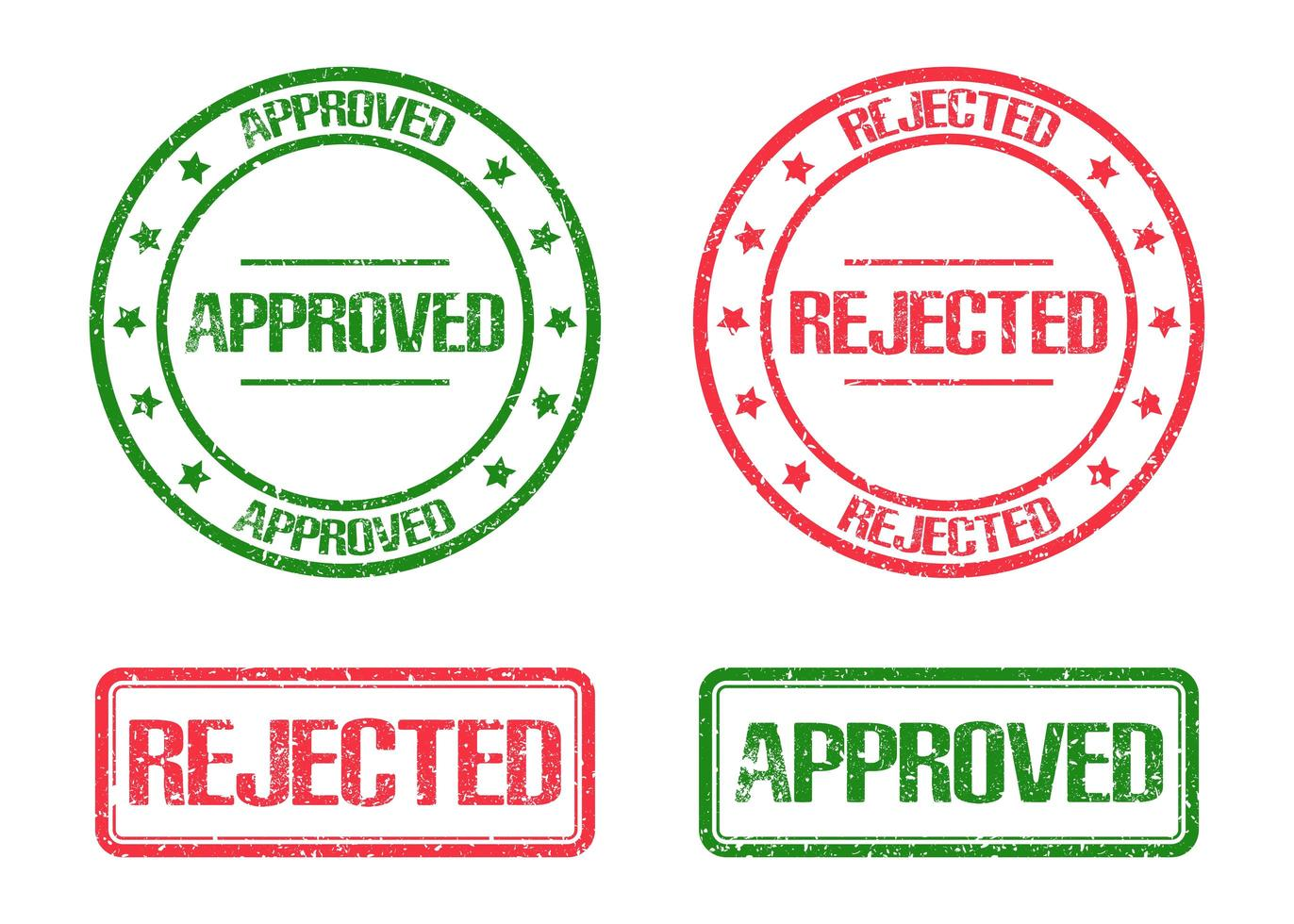 goedgekeurd en afgewezen stempel merk geïsoleerd op een witte achtergrond vector