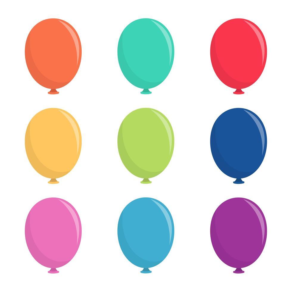 conjunto de balões isolado no fundo branco vetor