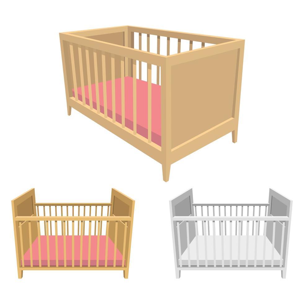 lits bébé isolés sur fond blanc vecteur