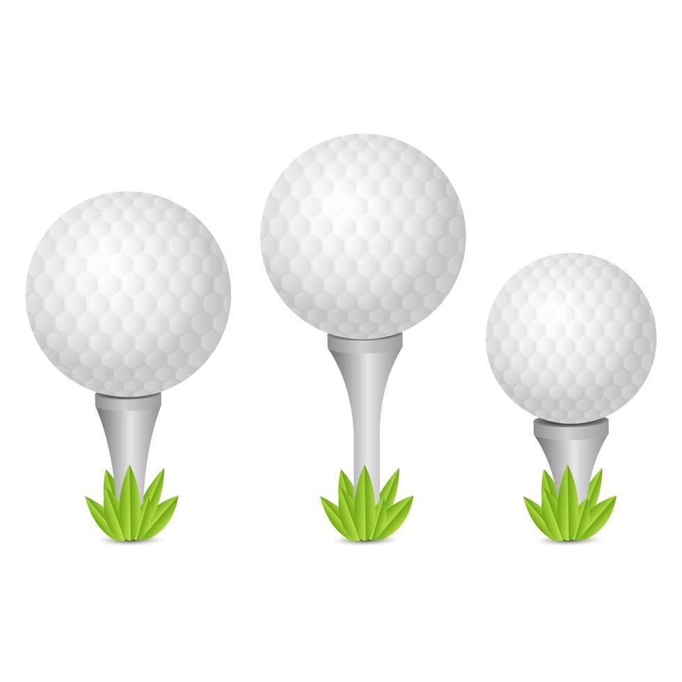 golfballen die op witte achtergrond worden geïsoleerd vector