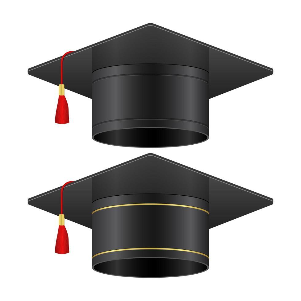 illustration de casquettes de graduation isolé sur fond blanc vecteur