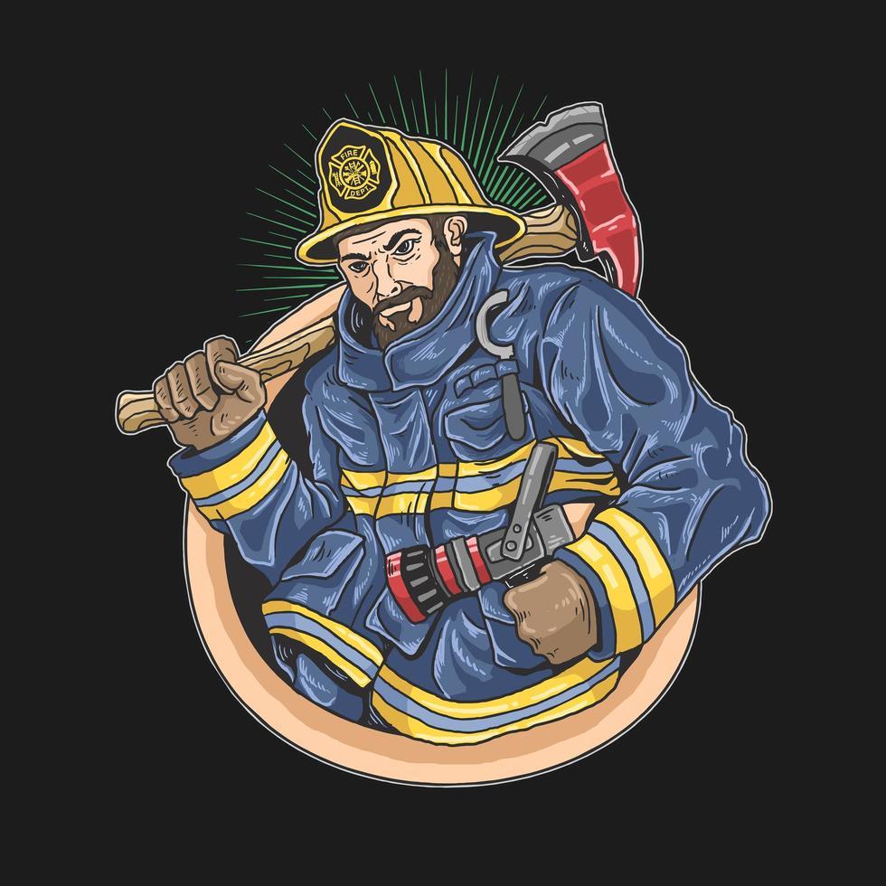 bombero dibujado a mano con hacha y manguera vector