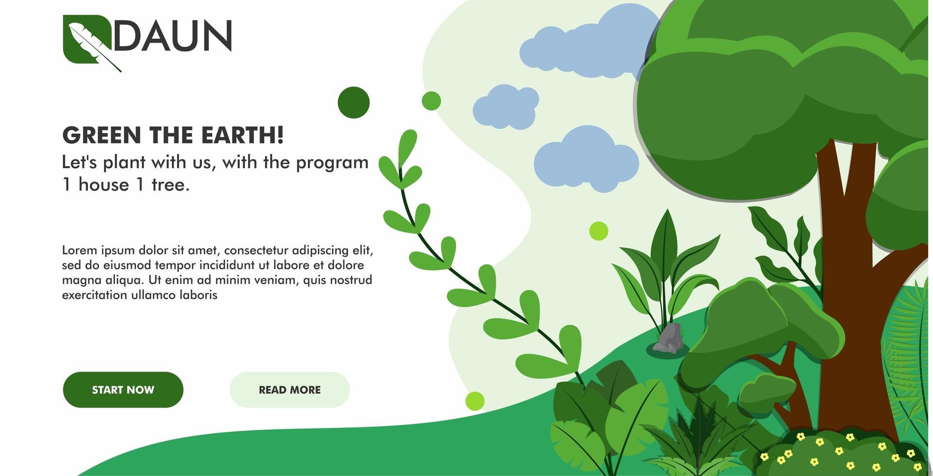 página de inicio de paisaje verde vector