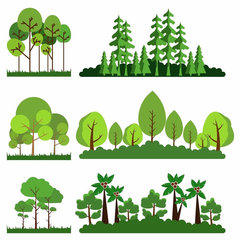conjunto de árboles en pasto vector