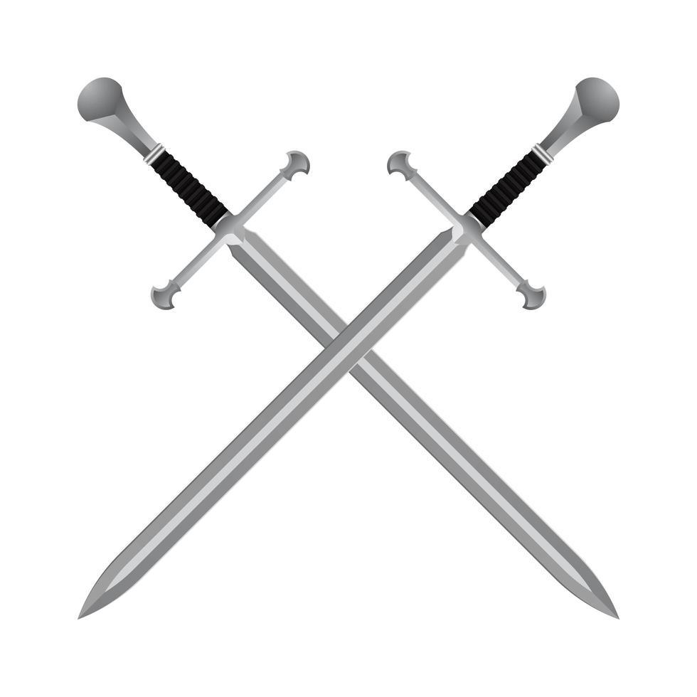 mittelalterliche gekreuzte Schwerter vektor