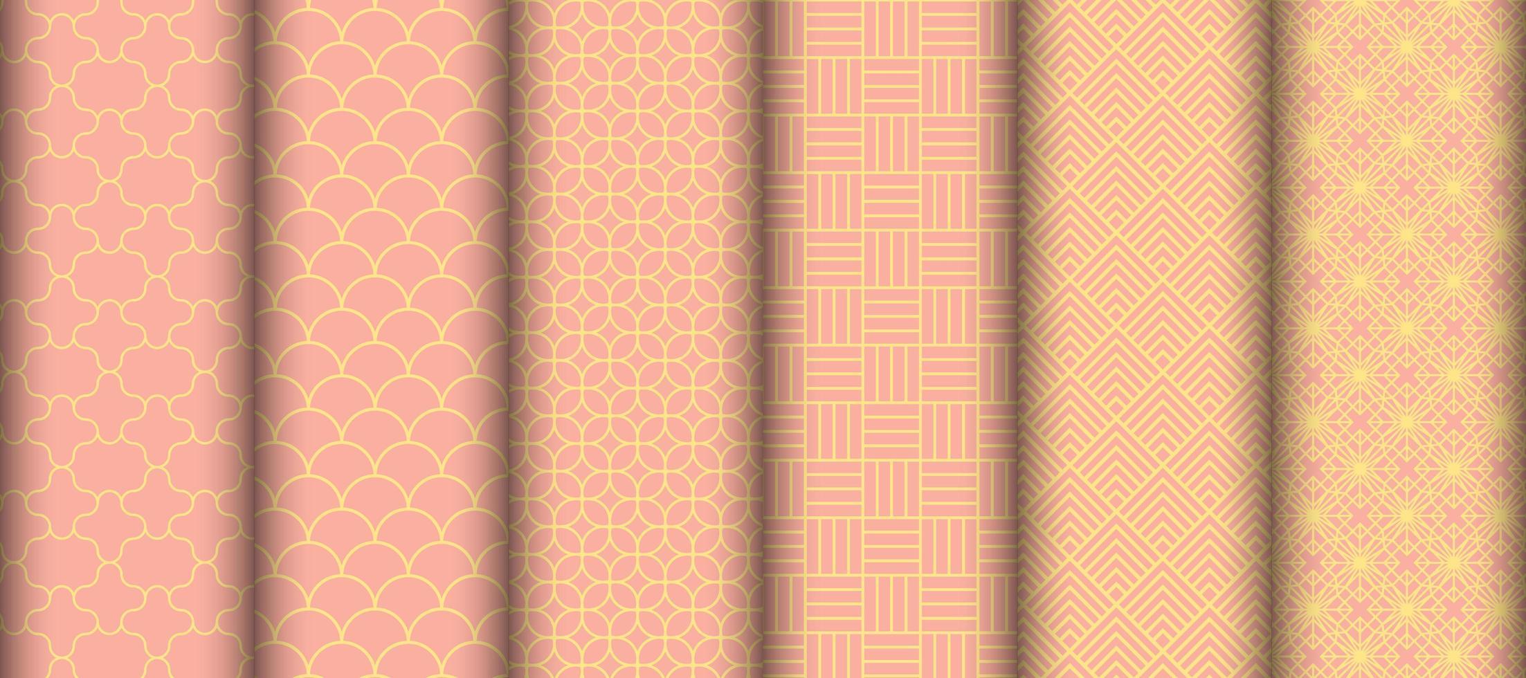 conjunto de padrões sem emenda de forma geométrica vetor