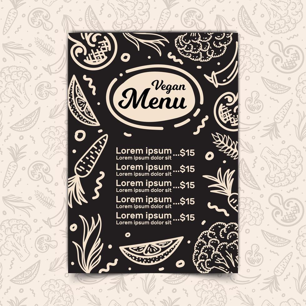 menú de restaurante vegano vector