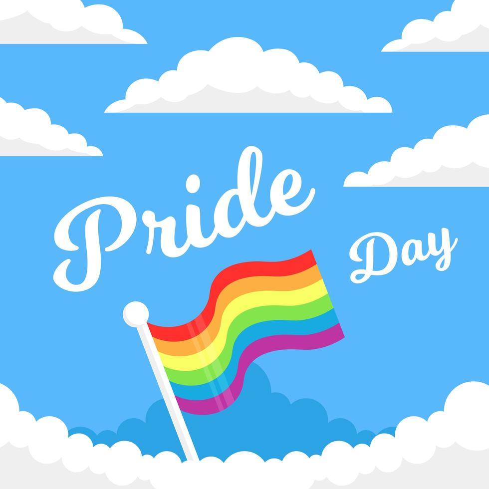 tarjeta del día del orgullo con bandera en las nubes vector