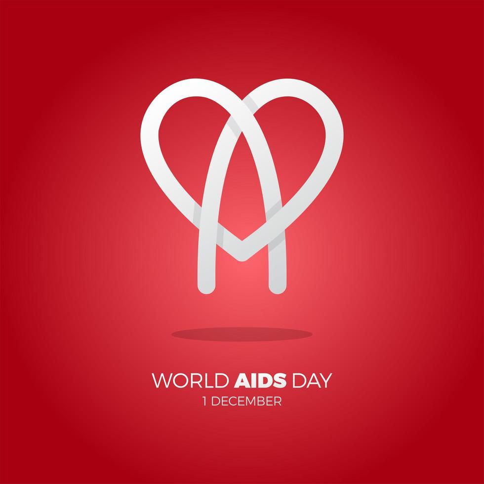affiche de la journée mondiale du sida avec l'icône du cœur vecteur