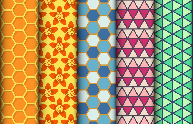 conjunto de padrões sem emenda geométricos coloridos vetor