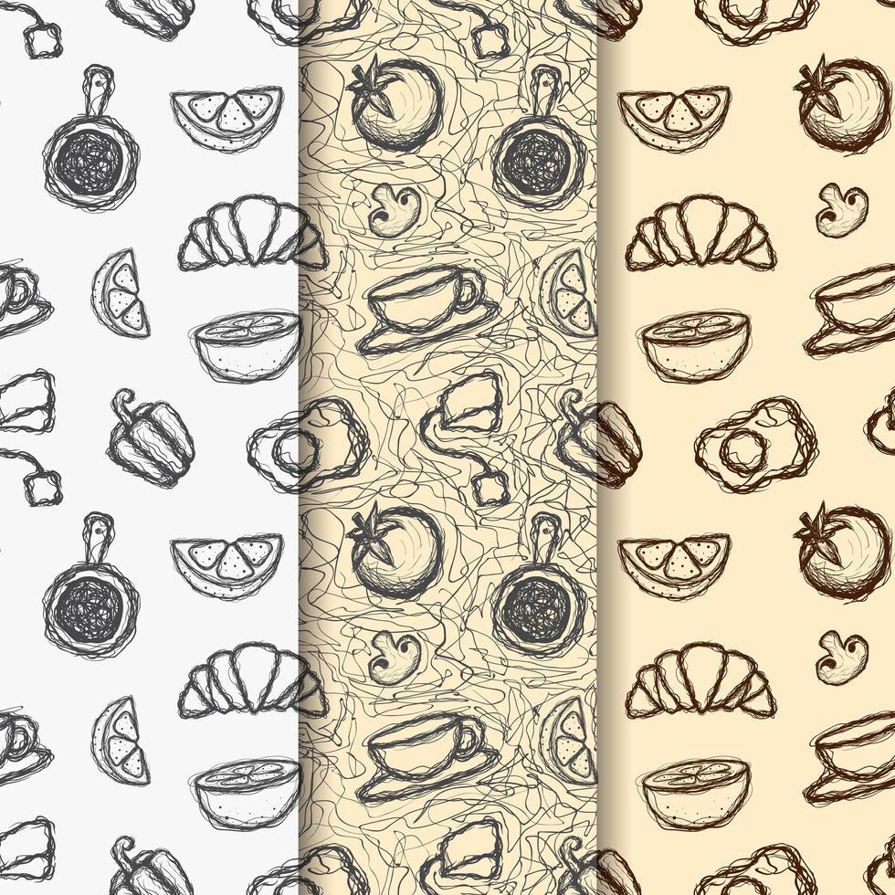 ensemble de modèles sans couture sur le thème du café doodle vecteur
