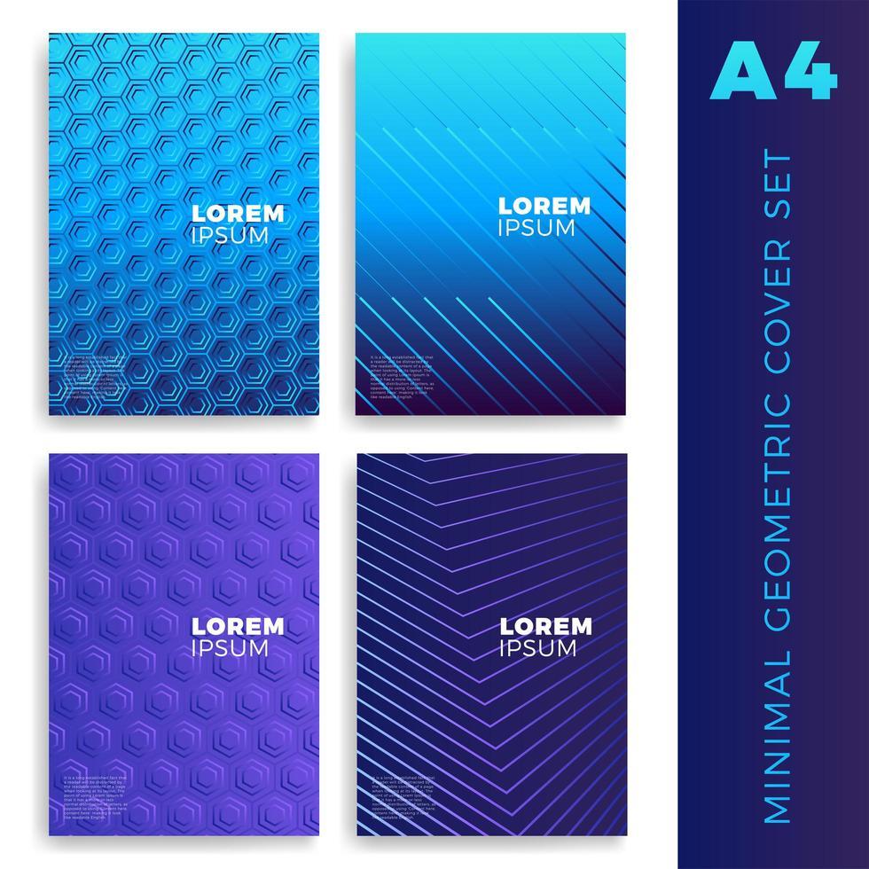 quatro capas coloridas brilhantes com padrões geométricos vetor