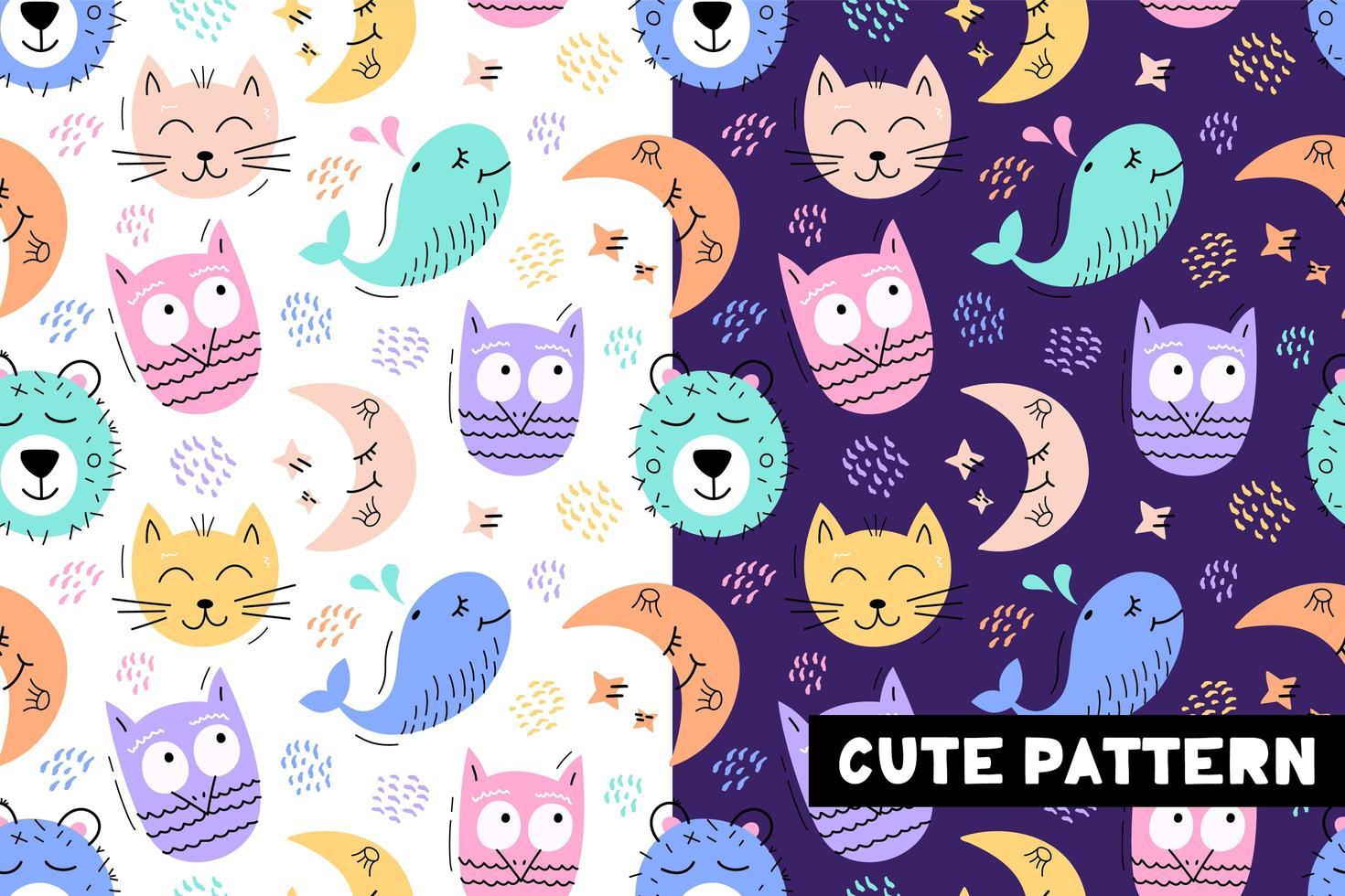 naadloze patroon met grappige dieren gezichten vector