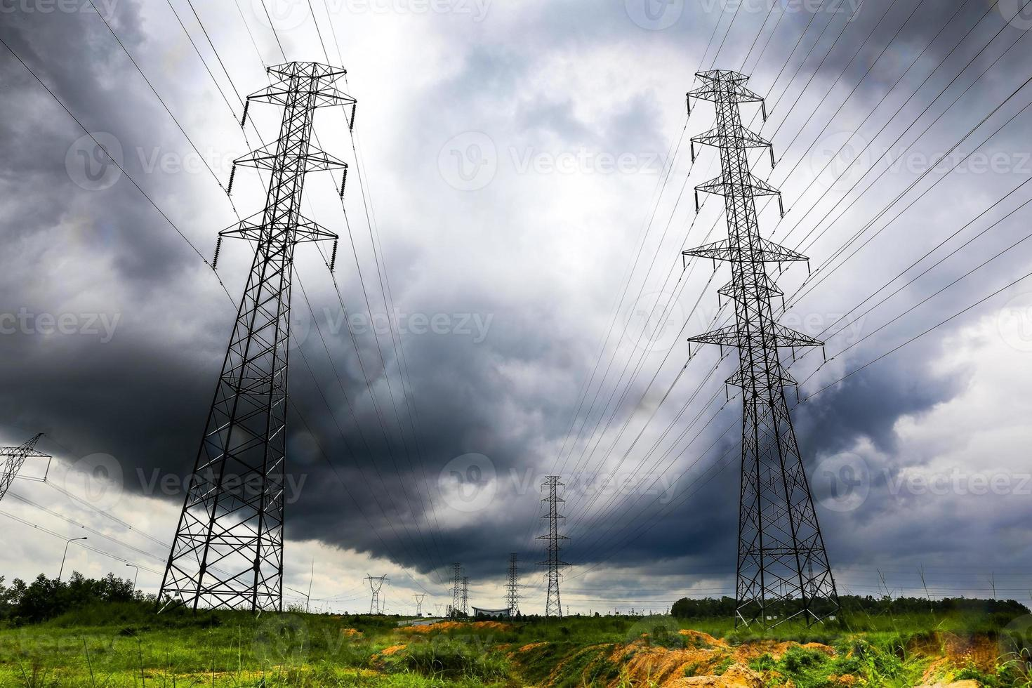 High-voltage power lines in storm photo