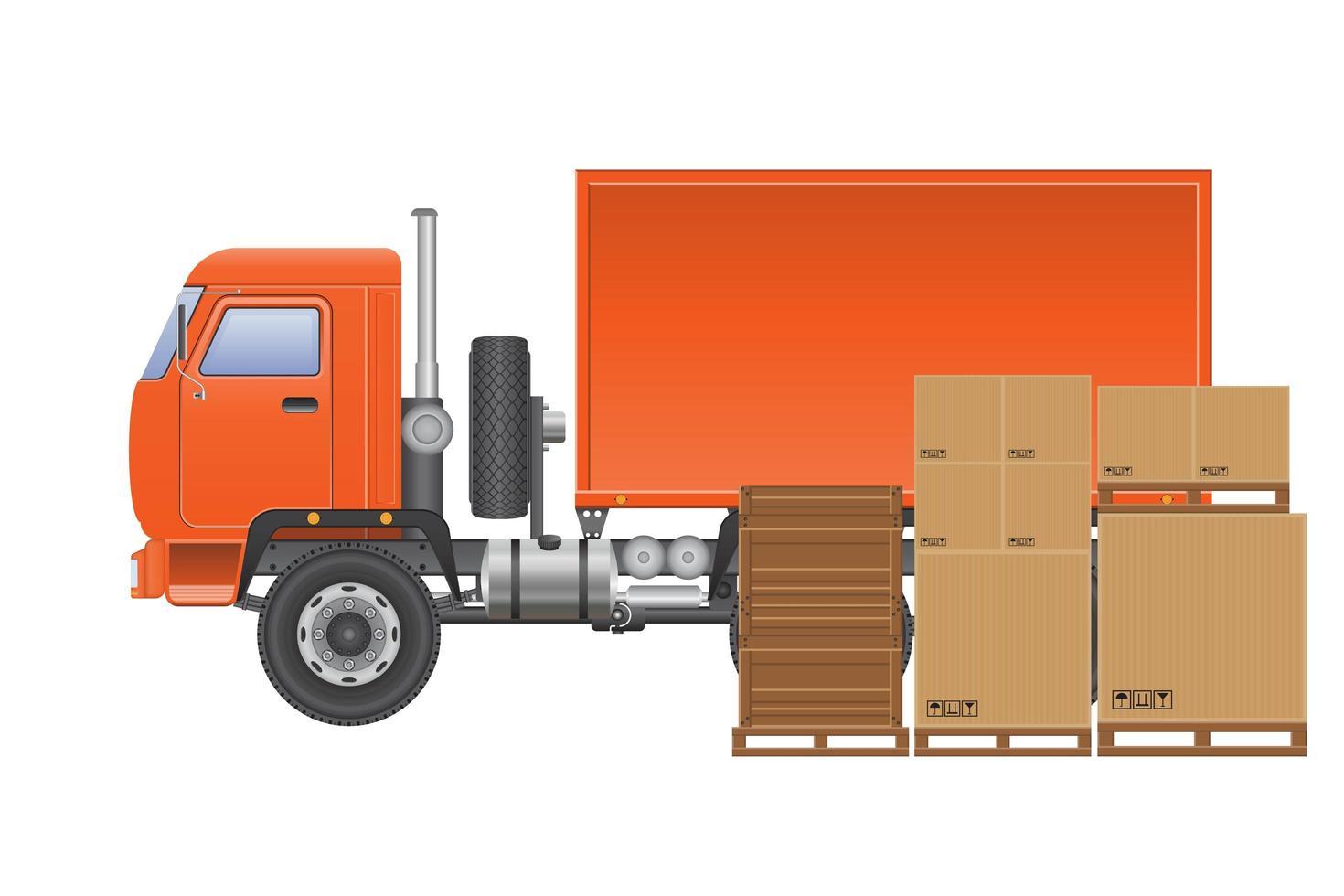 camión de reparto de carga naranja vector