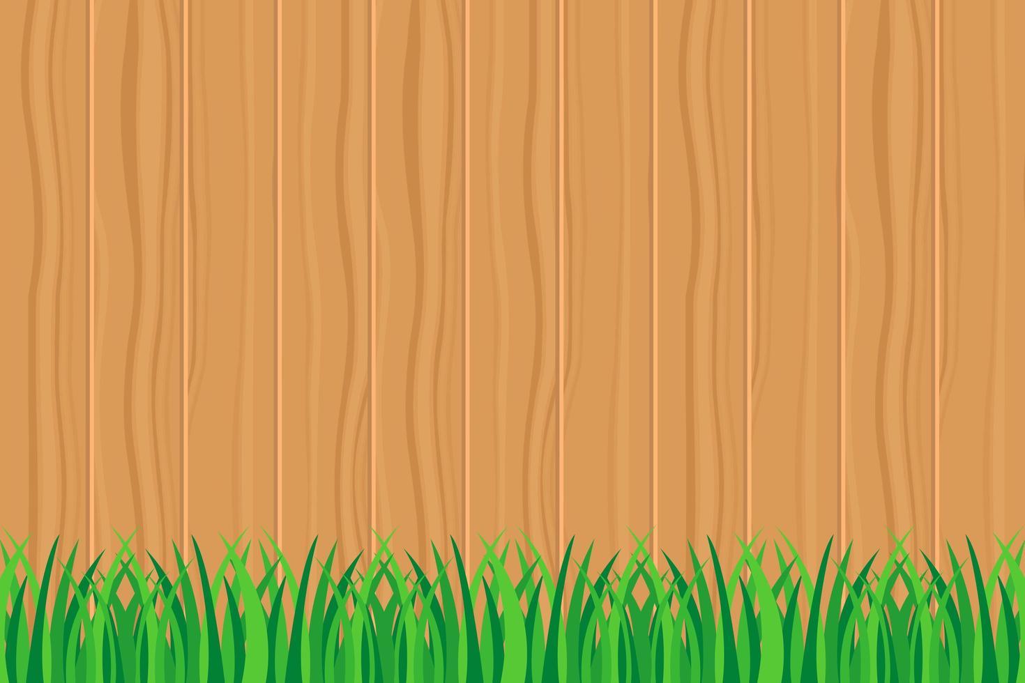 hierba verde contra el texto de la valla de madera vector