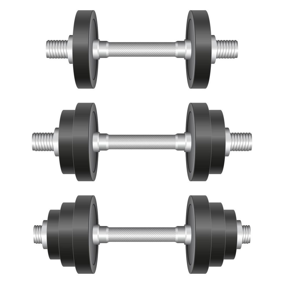 conjunto de halteres de metal vetor