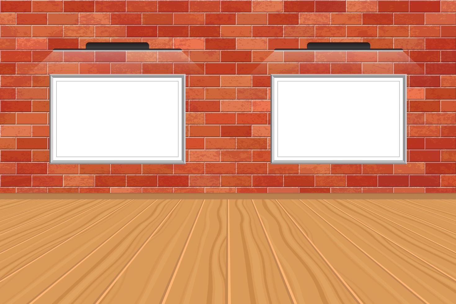 imagens de maquete com luz led na parede de tijolo vetor