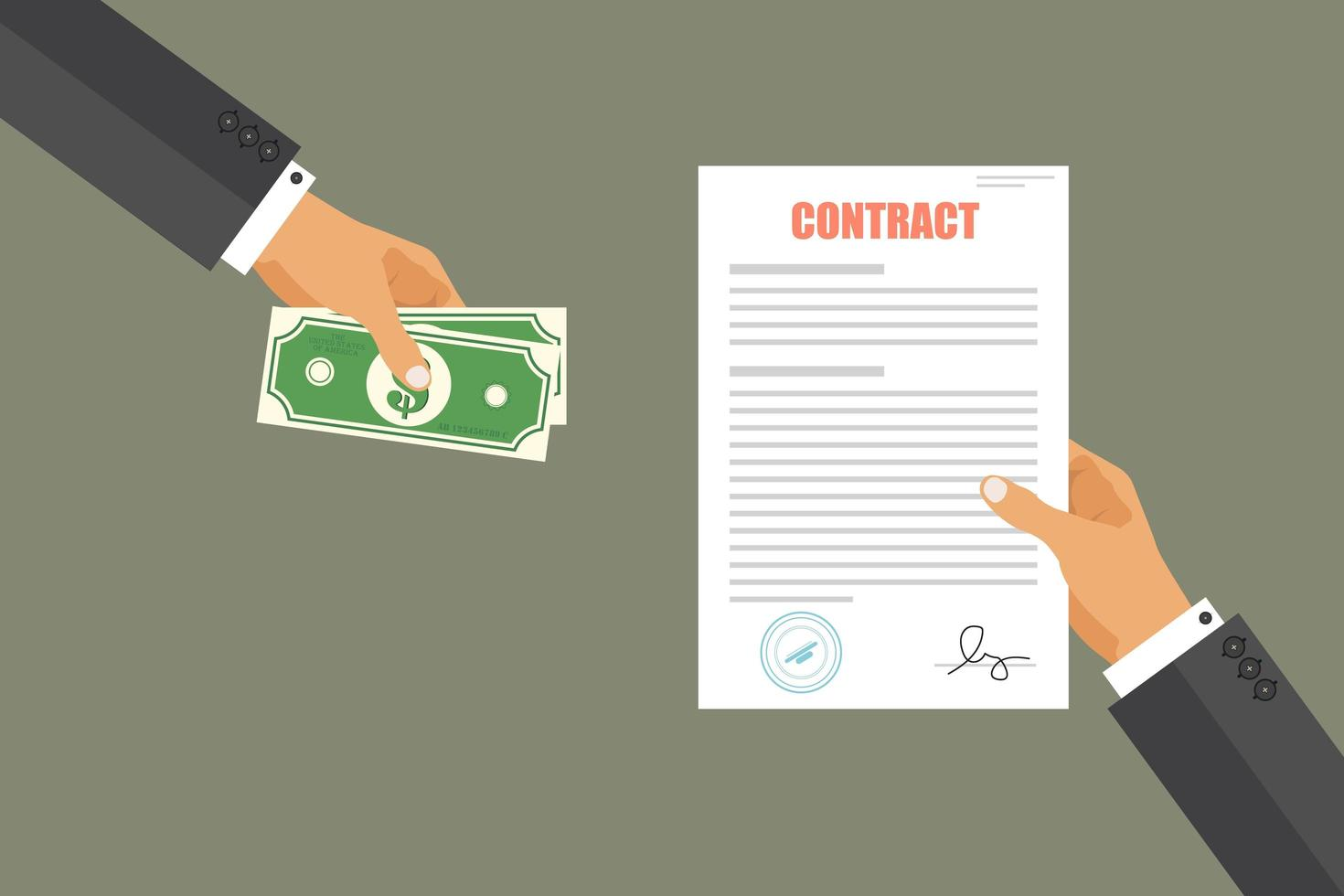 Business man paying for contract vector