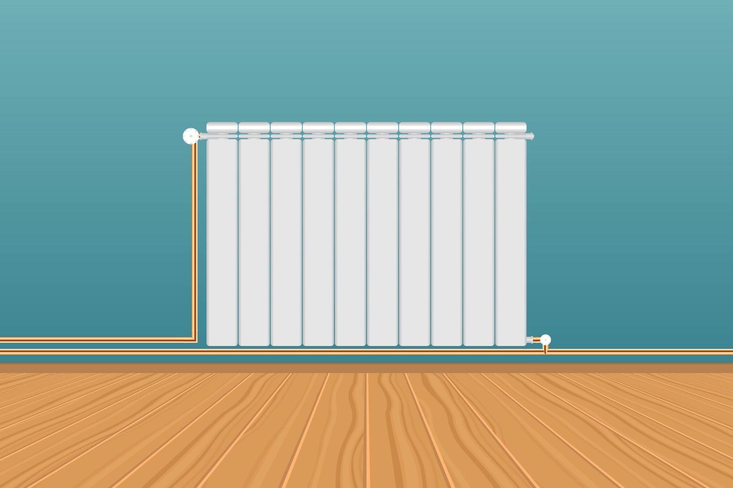 radiador de aquecimento branco na parede azul vetor