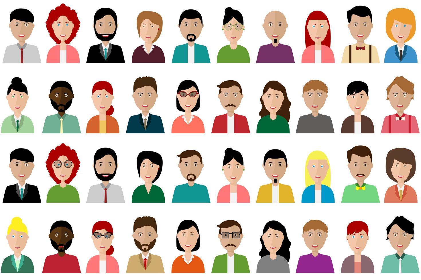 ensemble d'avatar de personnes colorées vecteur