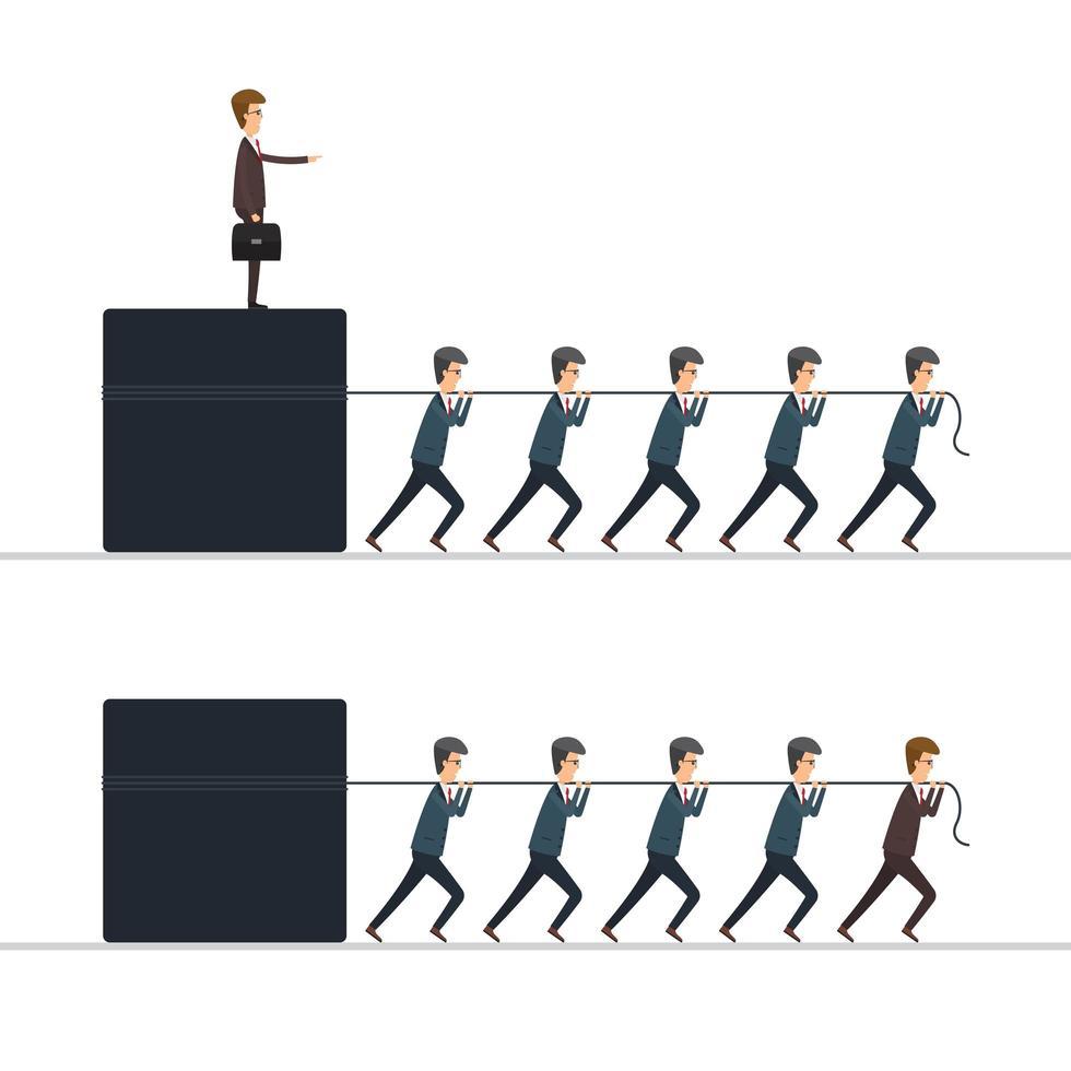 hommes affaires, traction, patron, et, cube vecteur