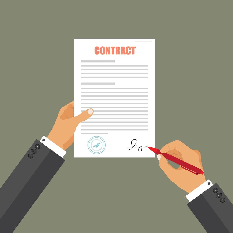 Business man signing contract vector
