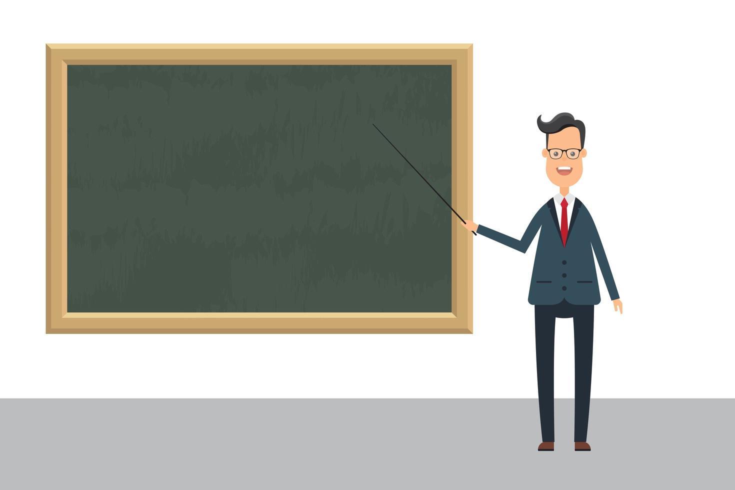 Profesor con puntero en pizarra vector