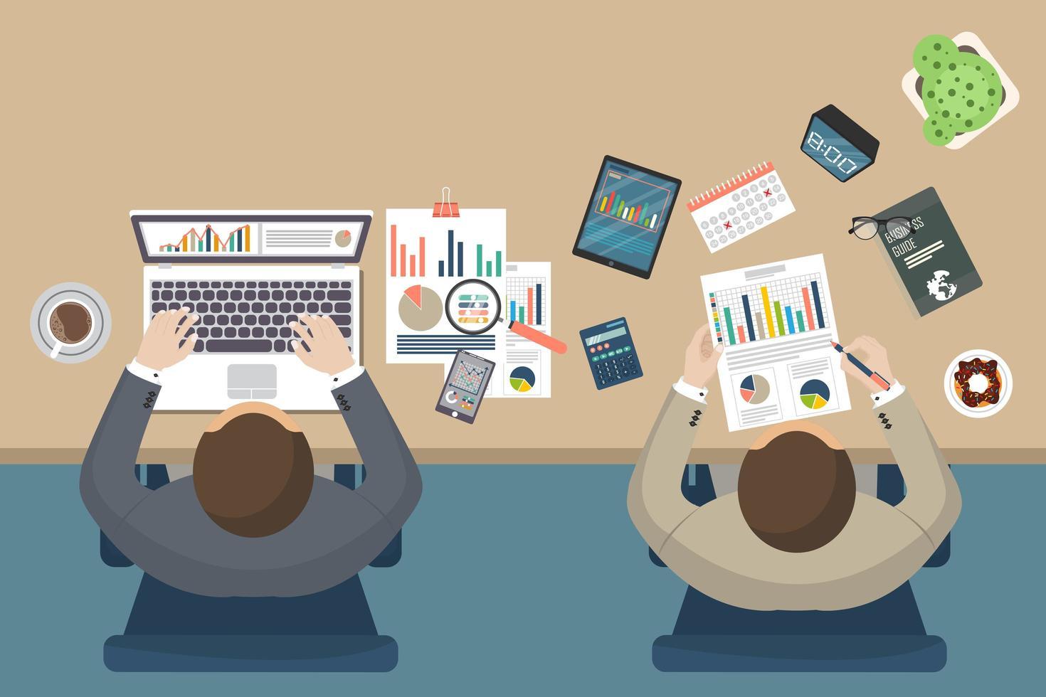Vista superior de hombres de negocios en el escritorio vector