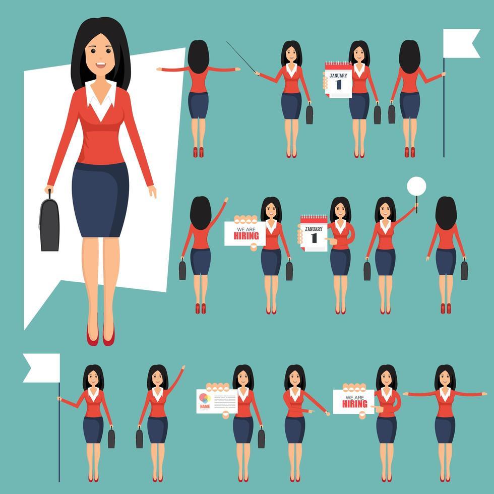 set zakenvrouwen in verschillende posities vector