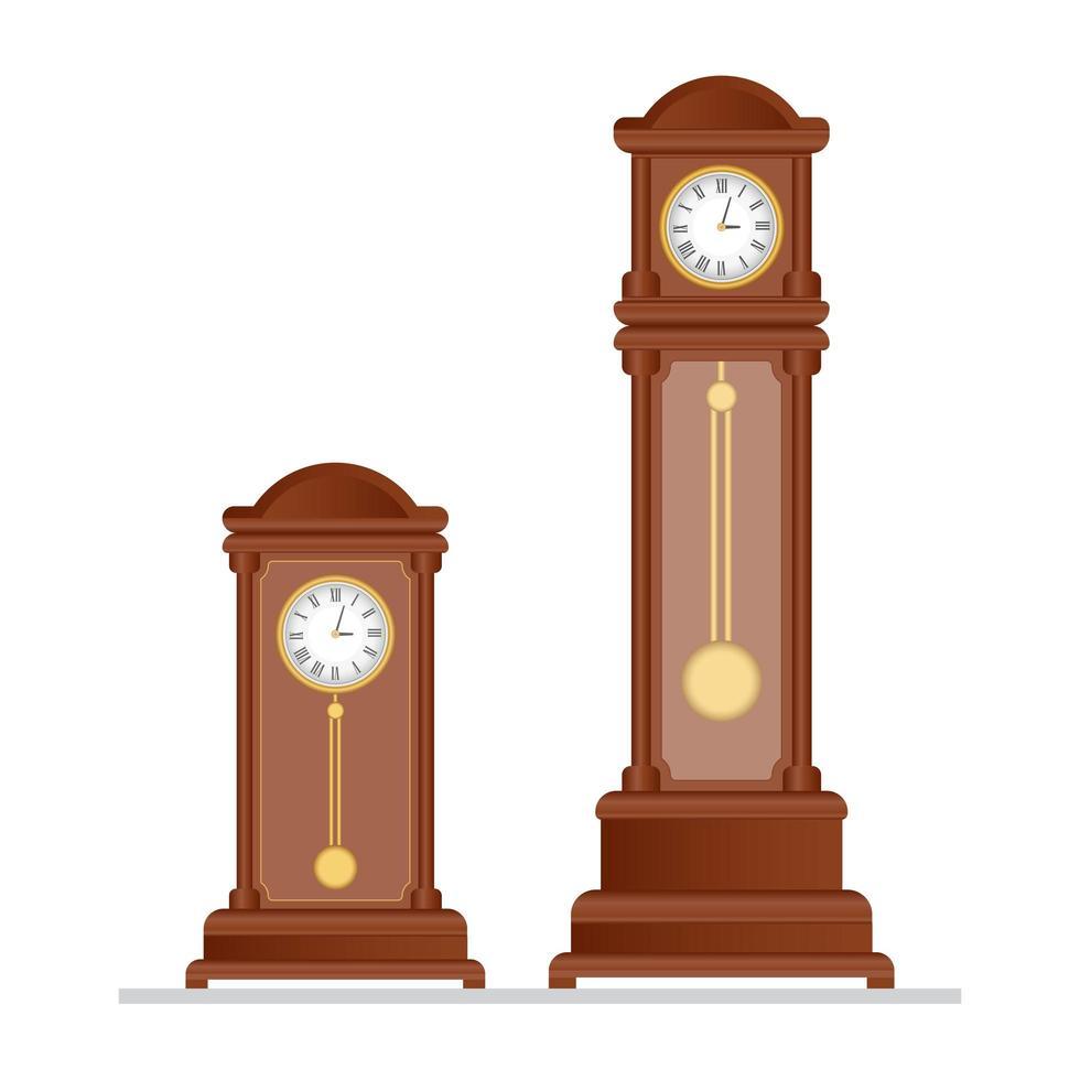 vieilles horloges à pendules vecteur